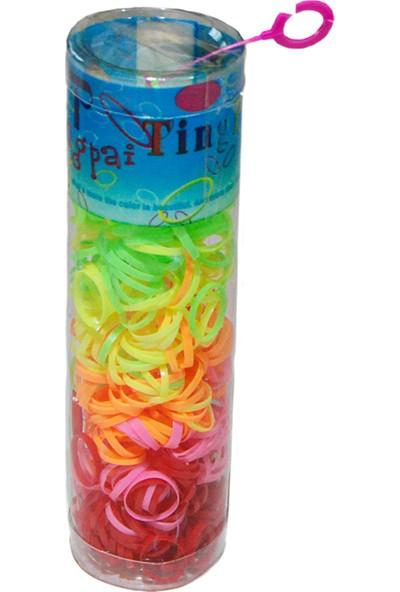 Zupimo Lastik Toka - Karışık Renkli Büyük Kutuda 1,5 cm Kız Çocuk Lastik Tüp Toka