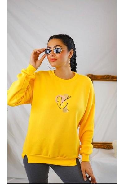 Crep Yüzlü Sweatshirt