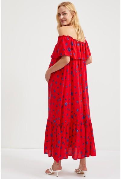 DeFacto Maternity Volanlı Uzun Örme Elbise S9469AZ20HS