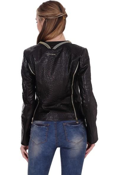Franko Armondi Kadın Deri Klasik Ceket Baskı Siyah BK-1441-19610 Fa2
