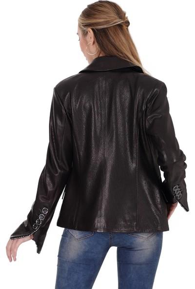 Franko Armondi Kadın Deri Klasik Ceket Siyah BK-1439-19604 Fa2