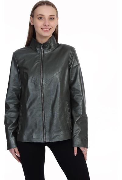 Franko Armondi Kadın Deri Klasik Ceket Yeşil BK-1478-19750 Fa2