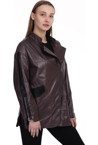 Franko Armondi Kadın Deri Klasik Ceket Oversize Gri BO-1477-19760 Fa2