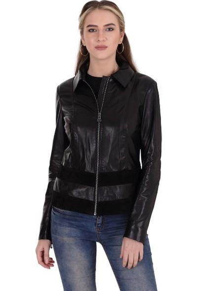 Franko Armondi Kadın Deri Klasik Ceket Süet Siyah BK-1368-19563 Fa2