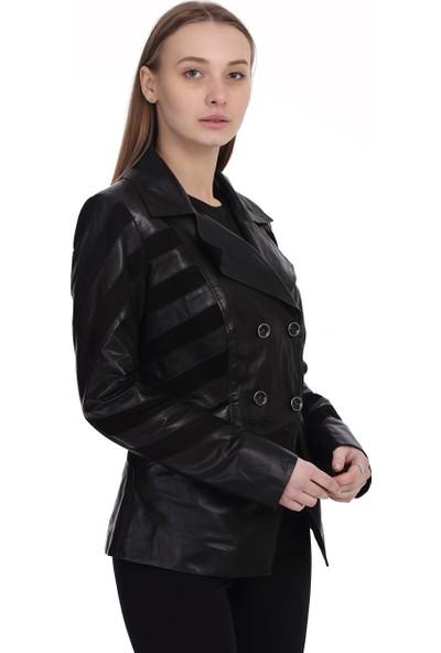 Franko Armondi Kadın Deri Klasik Ceket Süet Siyah BK-1475-19766 Fa2