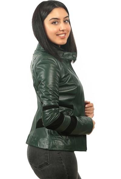 Franko Armondi Kadın Deri Klasik Ceket Süet Yeşil BK-1339-19437 Fa2