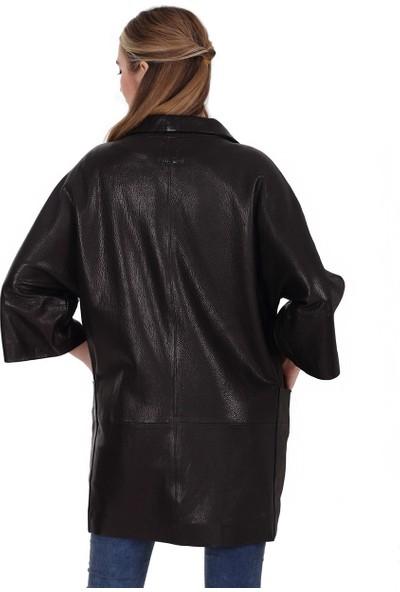 Franko Armondi Kadın Deri Klasik Kaban Siyah BU-1391-19567 Fa2