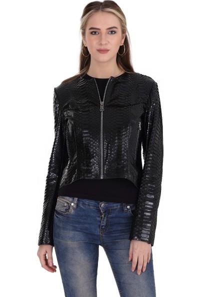 Franko Armondi Kadın Deri Klasik Luxury Ceket Komple Siyah EBK-1404-19570 Fa2