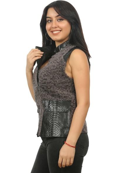 Franko Armondi Kadın Deri Klasik Luxury Yelek Siyah YLK-B-896-17984 Fa2