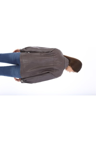 Franko Armondi Kadın Deri Klasik Oversize Ceket Gri BK-1581 - 19994 Fa3