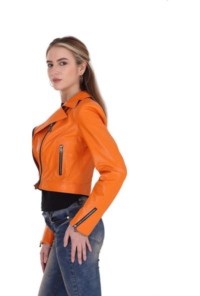 Franko Armondi Kadın Deri Spor Biker Mont Turuncu MBK-1308-19552 Fa2