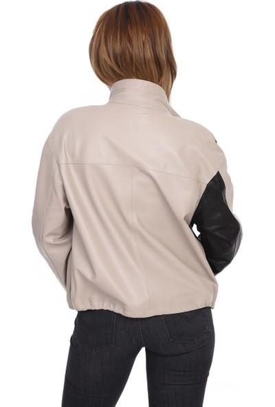 Franko Armondi Kadın Deri Spor Ceket Oversize Trok Bej-Siyah BK-1524-19831 Fa2
