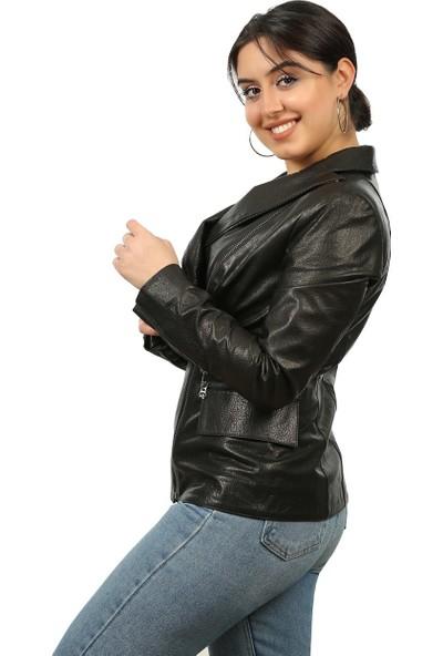Franko Armondi Kadın Deri Spor Ceket Siyah MBK-1302-19348 Fa2