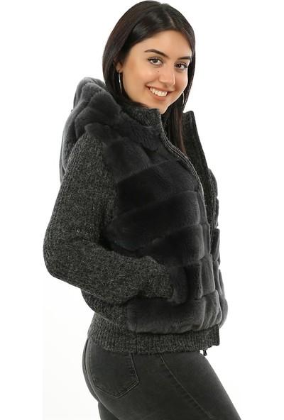 Franko Armondi Kadın Deri Spor Luxury Mont Kapşonlu Beli Lastikli Rex Triko Antrasit MK-2380-19509 Fa2