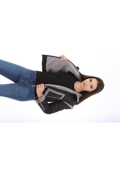 Franko Armondi Kadın Su Geçirmez Kumaş Beli Lastikli Kapşonlu Kışlık Spor Luxury Mont Siyah BK-1576 - 19998 Fa3
