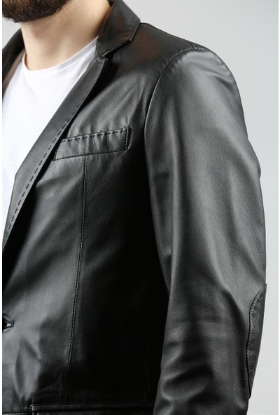 Franko Armondi Erkek Deri Klasik Blazer Puntolu Siyah BLZ-414-16652 Fa1