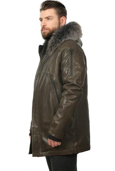 Franko Armondi Erkek Deri Klasik Kışlık Kaban Kapşonlu Kaz Tüyü Haki U-1259-19251 Fa1