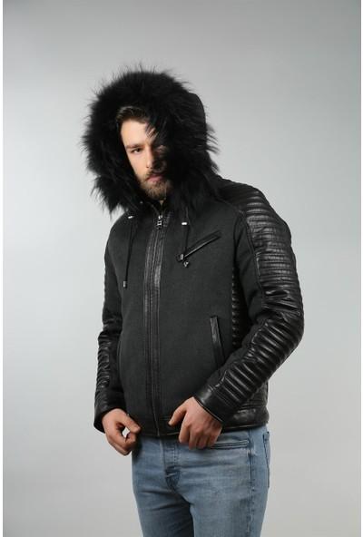 Franko Armondi Erkek Deri Spor Kışlık Mont Kapşon Kaşmir Siyah K-840 KAPŞ-17775 Fa1