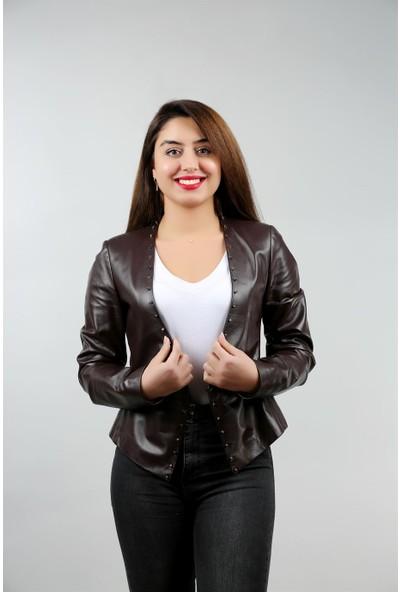 Franko Armondi Kadın Deri Klasik Ceket Trok Çay BK-533-17664 Fa1
