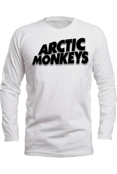 Fandomya Acdc Arctic Monkeys Logo Beyaz Long Sleeve