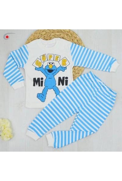 Bavyera Mavi Sevimli Canavar Temalı Bebek ve Çocuk 2li Pijama Takımı