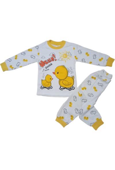 Bavyera Süpermini 1-3 Yaş Beyaz Hello Duck Ördek Temalı Çocuk Alt Üst 2'li Takım