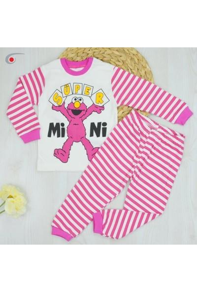 Bavyera Süpermini Fuşya Sevimli Canavar Temalı 2'li Pijama Takımı