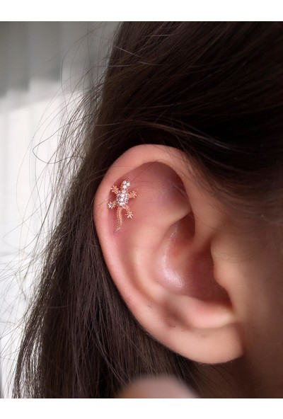 Serpil Jewellery Rose Renk Zirkon Taşlı Kertenkele Figürlü Çelik Piercing