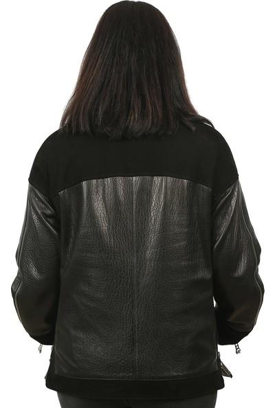 Franko Armondi Kadın Deri Klasik Ceket Oversize Süet Siyah Bk-1290-19297 Fa2