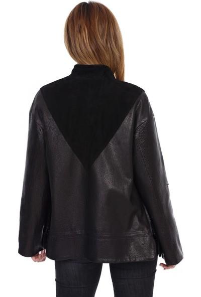 Franko Armondi Kadın Deri Klasik Ceket Oversize Süet Siyah Bk-1525-19828 Fa2