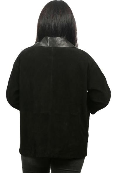 Franko Armondi Kadın Deri Klasik Ceket Oversize Süet Siyah Bk-1288-19292 Fa2