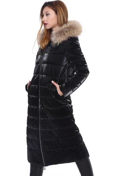 Franko Armondi Kadın Deri Klasik Kışlık Kaban Kumaş Rakun Siyah Bu-1513-19814 Fa2