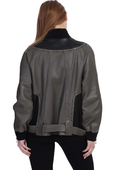 Franko Armondi Kadın Deri Spor Ceket Oversize Kumaş Trok Siyah-Yeşil Bk-1457A-19707 Fa2