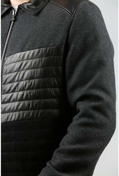 Franko Armondi Erkek Deri Klasik Şişme Kışlık Mont Beli Lastikli Kaşmir Süet Siyah Gri K-979-18349 Fa1