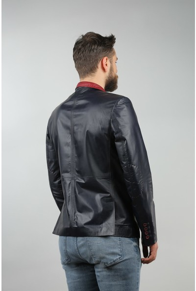 Franko Armondi Erkek Deri Spor Blazer Slim Fit Lacivet Bordo Blz-339-15360 Fa1