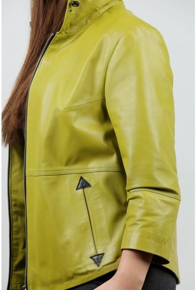 Franko Armondi Kadın Deri Spor Ceket Kapşonlu Oversize Sarı B-997-18391 Fa1
