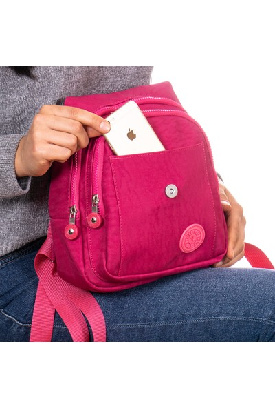 Capella Bag&belt Krinkıl Kumaş, Astarlı Kadın Sırt Çantası
