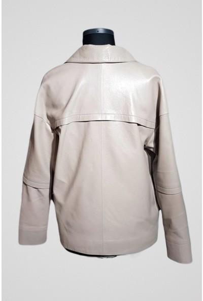 Tannery Leather Kadın Jumbo Deri Ceket Beyaz O-135
