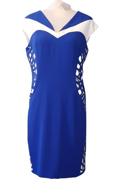Bendis Lazer Kesim Model Mavi Renk Büyük Beden Kısa Elbise