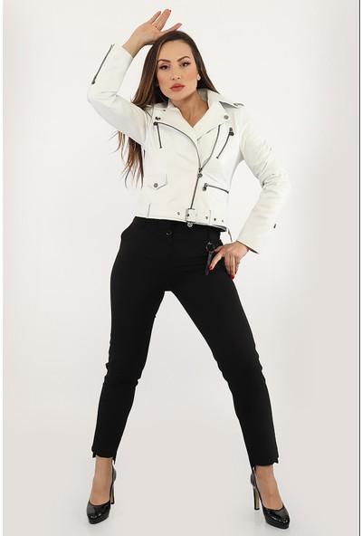 Tannery Leather Kadın Deri Ceket Beyaz R-1055