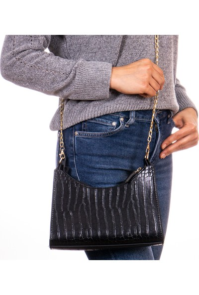 Capella Bag&Belt Kadın Kroko Desenli Baget Çanta Siyah