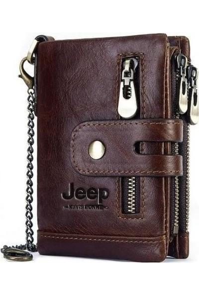 Jeep Erkek Cüzdanı 100% Hakiki Deri Bozuk Para Kart Bölmeli Zincir Tutuculu Rfıd Özellikli
