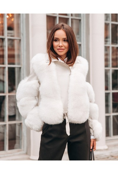 Nero Leather - Çapraz Fermuarlı Beyaz Kadın Hakiki Deri Ceket N15 (Slım Fıt)