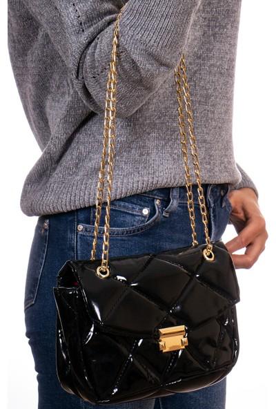 Capella Bag&belt Siyah Kadın Kapitone El ve Omuz Çantası