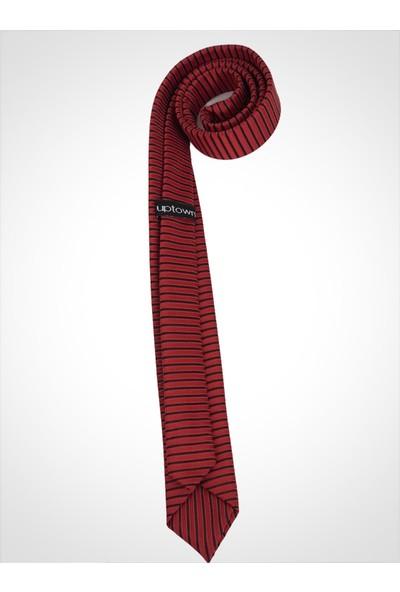 Uptown Kravat Kırmızı Çizgili Genişlik 5cm