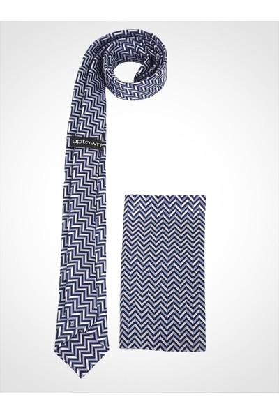 Uptown Kravat Mavi Desenli Genişlik 5cm