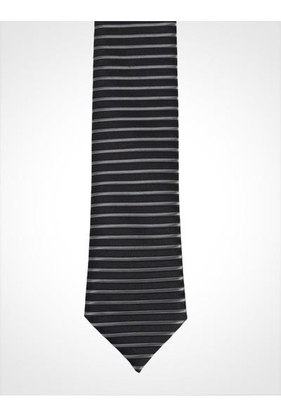 Uptown Kravat Siyah Çizgili Genişlik 5cm