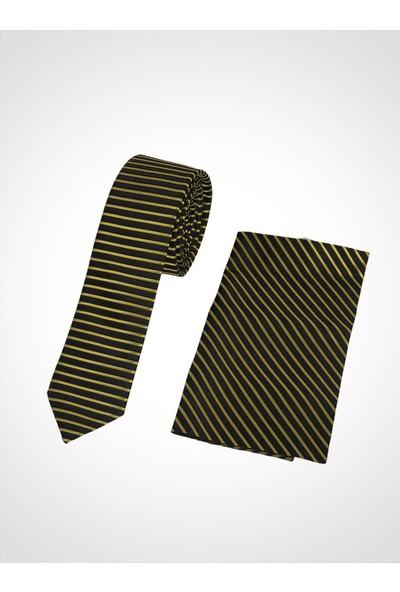 Uptown Kravat Sarı Çizgili Genişlik 5cm