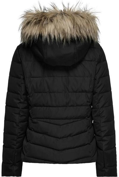 Only Onlnewellan Quılted Fur Hood Jacket Otw Kadın Mont Black