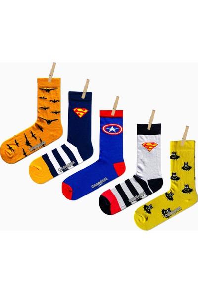 Carnaval Socks 5'li Süper Kahramanlar Desenli Renkli Çorap